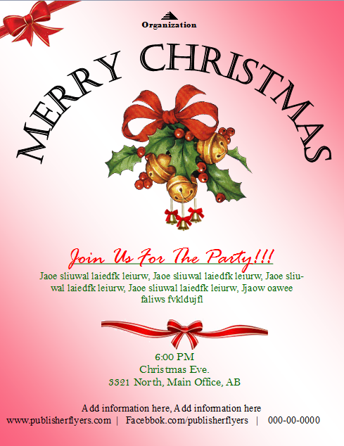Christmas Party Invitation Flyer Template – Publisher Flyer ...