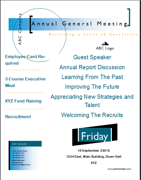 Publisher Flyers Annual General Meeting Flyer Template